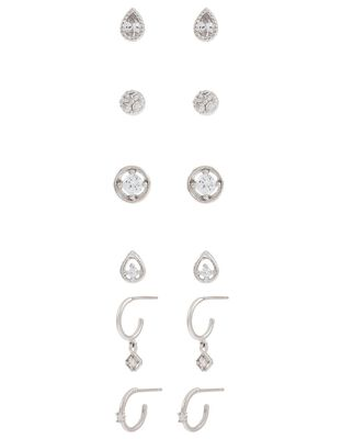 Platinum-Plated Sparkle Earring Multipack