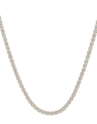 Gold-Plated Crystal Tennis Necklace