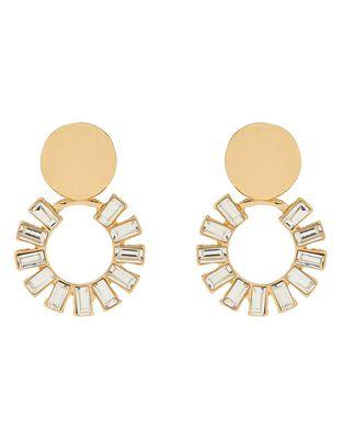 Baguette Crystal Clip-On Doorknocker Earrings