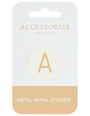 Metallic Initial Sticker - A