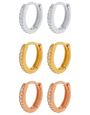 Gold-Plated Huggie Hoop Earrings with Cubic Zirconia