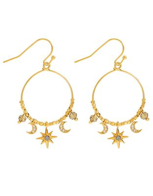 Star and Moon Earrings with SwarovskiCrystals