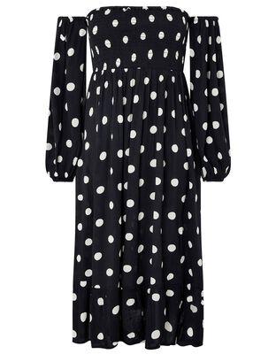 Polka-Dot Puff Sleeve Midi Dress