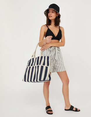 Woven Striped Tote Bag