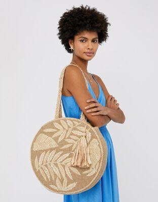 Leila Round Raffia Shoulder Bag