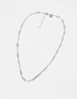 Platinum-Plated Paperclip Chain Necklace, , hi-res