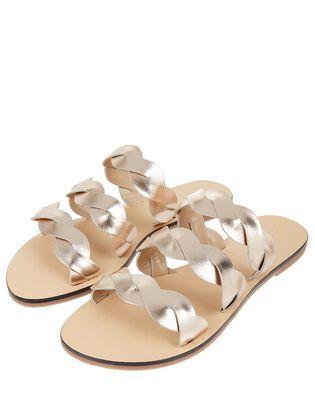 Metallic Leather Twist Sandals, , hi-res
