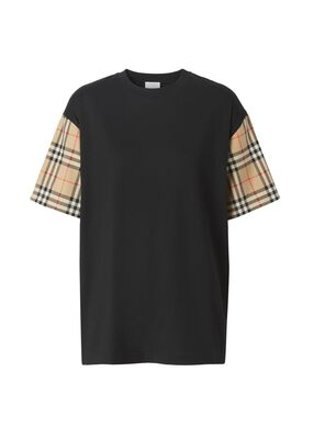 Vintage Check Sleeve Cotton Oversized T-shirt