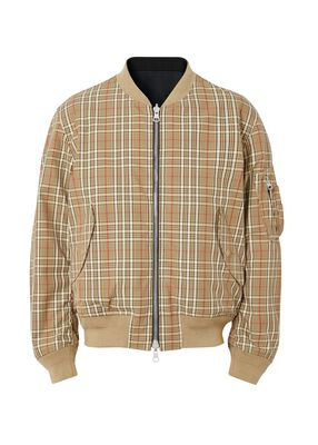 Reversible Check Technical Cotton Bomber Jacket