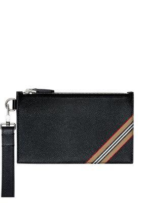 Icon Stripe Print Grainy Leather Zip Pouch
