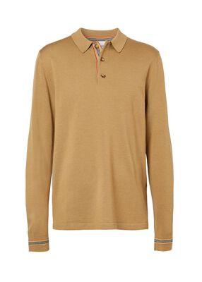 Long-sleeve Icon Stripe Detail Wool Polo Shirt