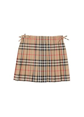 Vintage Check Cotton Pleated Skirt