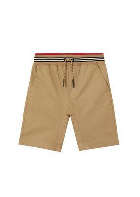 Icon Stripe Detail Cotton Twill Shorts