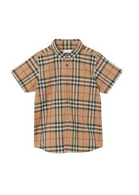 Short-sleeve Vintage Check Cotton Shirt