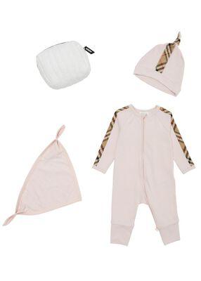 Check Trim Cotton Three-piece Baby Gift Set