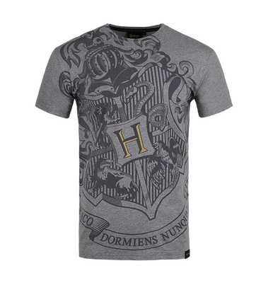 Hogwarts Bold Crest Grey T-Shirt - Extra Small